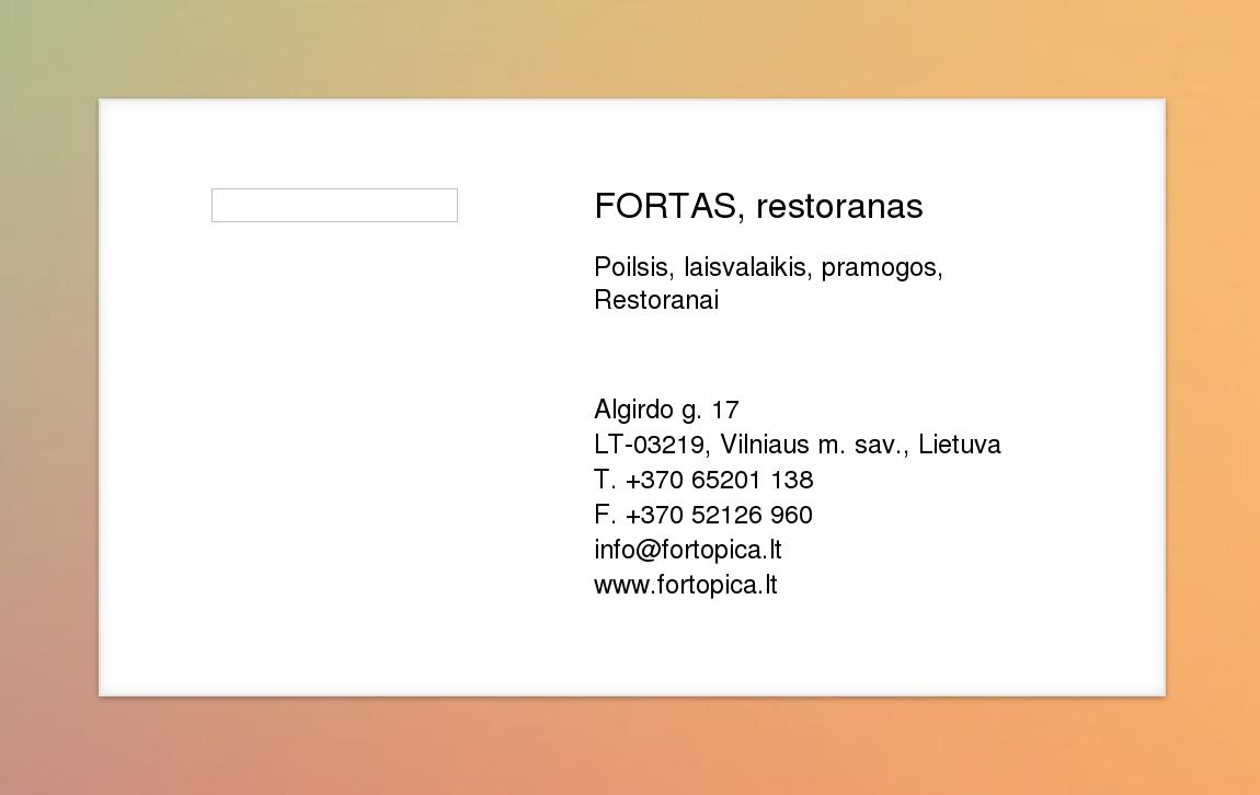 Fortas Restoranas Virtuali Vizitinė Kortelė
